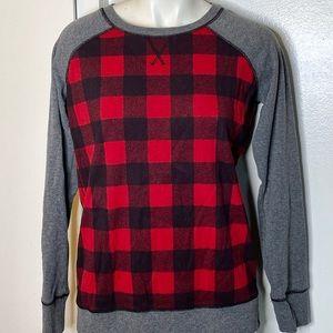 Eddie Bauer Red Buffalo Check Sweatshirt S